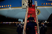 Andrews AFB, MD - December 1, 2009 -- United States President Barack Obama returns to Andrews Air Force Base after delivering a speech on Afghanistan at the U.S. Military Academy in West Point, New York on Tuesday, December 1, 2009. .Mandatory Credit: Pete Souza - White House via CNP