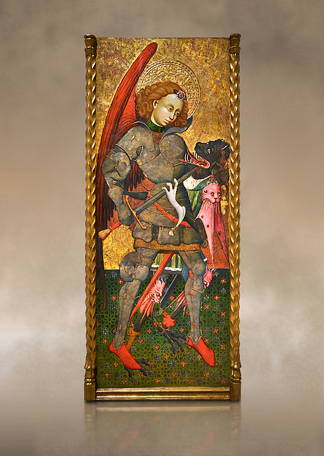 Gothic altarpiece of Archangel Michael ( Sant Miguel Arcangel) by Blasco de Branen of Saragossa, circa 1435-1445 , tempera and gold leaf on for wood.  National Museum of Catalan Art, Barcelona, Spain, inv no: MNAC   114741. Against a art background.