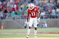 STANFORD, CA - SEPTEMBER 21: Paulson Adebo #11 of the Stanford Cardinal gets set on defense during a game between University of Oregon and Stanford Football at Stanford Stadium on September 21, 2019 in Stanford, California.