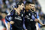 Real Madrid's Alvaro Morata, Carlos Henrique Casemiro and Nacho Fernandez celebrate goal during La Liga match. April 5,2017. (ALTERPHOTOS/Acero)