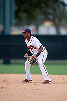 GCL Braves second baseman Luis Ovando (7) during the second game of a doubleheader against the GCL Yankees West on July 30, 2018 at Champion Stadium in Kissimmee, Florida.  GCL Braves defeated GCL Yankees West 5-4.  (Mike Janes/Four Seam Images)