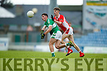 P J Mac Láimh West Kerry in action against Cathal Sheahan Legion in the Quarter Final of the Kerry Senior County Championship at Austin Stack Park on Sunday.
