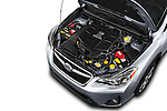 Car Stock 2016 Subaru Crosstrek Hybrid-Touring 5 Door SUV Engine  high angle detail view