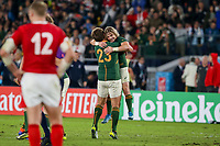 27th October 2019, Oita, Japan;  Faf de Klerk of South Africa is congratulated by Frans Steyn after the 2019 Rugby World Cup semi-final match between Wales and South Africa at International Stadium Yokohama in Kanagawa, Japan on October 27, 2019.  - Editorial Use