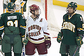 Chris Myers, Chris Collins, Corey Carlson - The Boston College Eagles completed a shutout sweep of the University of Vermont Catamounts on Saturday, January 21, 2006 by defeating Vermont 3-0 at Conte Forum in Chestnut Hill, MA.