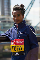 LONDON, ENGLAND 19 APRIL, Tigist Tufa attends Virgin Money London Marathon Elite Women's photocall at Westminster, London UK 19th April 2017<br /> CAP/PP/GM<br /> &copy;GM/PP/Capital Pictures