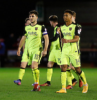 Exeter City FC scorers Ollie Watkins (R) and Jordan Moore-Taylor (L) during the Sky Bet League 2 match between Crawley Town and Exeter City at Broadfield Stadium, Crawley, England on 28 February 2017. Photo by Carlton Myrie / PRiME Media Images.