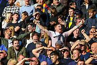 Leeds United fans sing during the first half<br /> <br /> Photographer Alex Dodd/CameraSport<br /> <br /> The EFL Sky Bet Championship Play-off  First Leg - Derby County v Leeds United - Thursday 9th May 2019 - Pride Park - Derby<br /> <br /> World Copyright © 2019 CameraSport. All rights reserved. 43 Linden Ave. Countesthorpe. Leicester. England. LE8 5PG - Tel: +44 (0) 116 277 4147 - admin@camerasport.com - www.camerasport.com