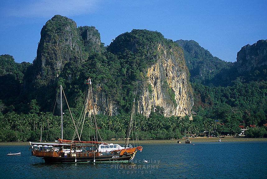 Traditional Thai sailboat, Railay Rei Lei Beach, Thailand