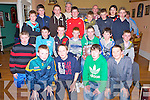 The Fossa U14 team who received their medals in the Old Killarney Inn on Friday night were David Clifford, Cathal Talbot, Cillian Bellew, Conor Murphy, Shane Cronin, Oisin Sheehan, Paudie Clifford, Andrew Cronin, Jonathan Coffey, Colm Walsh, Diarmuid Burke, Michael O'Keeffe, Kevin Burke, Austin Trant, Conor Kissane, Brian Myers, Maurice Prenderville, Daniel O'Connell and Mathew Rennie with coaches Padraig Burke and Willie Buckley.
