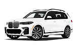 Stock pictures of low aggressive front three quarter view of a 2019 BMW X7 40i 5 Door SUV