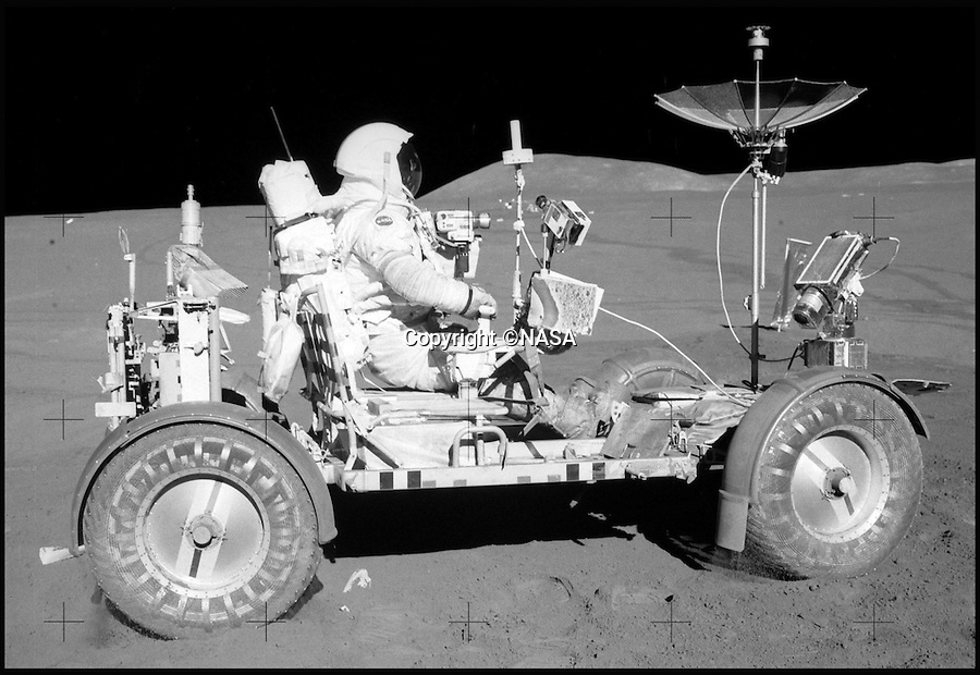 BNPS.co.uk (01202 558833)<br /> Pic: NASA/BNPS<br /> <br /> In action with Apollo 15 - The final Lunar Rover on the moon.<br /> <br /> One small step for a bidder, one giant leap for his mechanic...<br /> <br /> In the 60's it would have been a top secret part of NASA's $25 billion Apollo space program - but today this prototype Lunar Rover has been discovered languishing in a scrap yard in deepest Alabama. <br /> <br /> The vehicle was part of the development program for the Lunar Rover that eventually reached the moon on Apollo 15 in 1972,<br /> <br /> But despite becomindg a rusty footnote to space history the spartan vehicle still retains an astronomical &pound;110,000 auction estimate.<br /> <br /> RR Auctions - 21st April - &pound;110,000 est