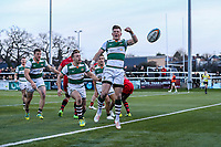 Peter LYDON of Ealing Trailfinders celebrates after he scores his team's third try action during the Greene King IPA Championship match between Ealing Trailfinders and Jersey Reds at Castle Bar , West Ealing , England  on 22 December 2018. Photo by David Horn.