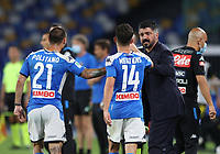 13th June 2020; Stadio San Paolo, Naples, Campania, Italy; Coppa Italia Football, Napoli versus Inter Milan; Dries Mertens of Napoli celebrates with manager Gatuso after scoring his goal for 1-1 in the 41st minute