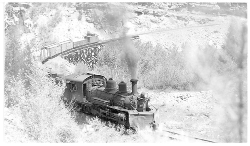 Engine #455 on westbound extra at Pleasant Valley Trestle near Valley View, CO.<br /> RGS  near Valley View, CO  Taken by Kindig, Richard H. - 6/5/1951