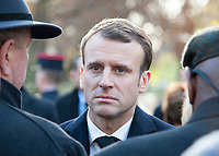 November 13 2017, PARIS FRANCE<br /> the President of France Emmanuel Macron<br /> honors the victims of the 13 november 2015<br /> in the scenes of attacks. the President is<br /> speaking to the family of victims. # HOMMAGE AUX VICTIMES DES ATTENTATS DU 13 NOVEMBRE 2015