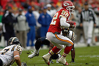 Chiefs kick returner Dante Hall runs back a kickoff for 18 yards against the San Diego Chargers during the second quarter at Arrowhead Stadium  in Kansas City, MO on October 22, 2006. The Chiefs won 30-27.