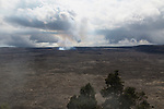 Halema'uma'u Crater as seen from the a steaming overlook in Volcanoes National Park on The Big Island of Hawaii, USA, America