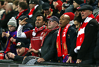 Liverpool fans take in the atmosphere inside Anfield ahead of kick-off <br /> <br /> Photographer Rich Linley/CameraSport<br /> <br /> UEFA Champions League Round of 16 First Leg - Liverpool and Bayern Munich - Tuesday 19th February 2019 - Anfield - Liverpool<br />  <br /> World Copyright © 2018 CameraSport. All rights reserved. 43 Linden Ave. Countesthorpe. Leicester. England. LE8 5PG - Tel: +44 (0) 116 277 4147 - admin@camerasport.com - www.camerasport.com