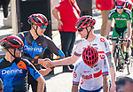 Rick Velkamp (NED) shakes hands with Stephen Bate (GBR) prior to the race starting during the 2019 Para-Cycling International of the UCI World Championships 2019 running from Beverley to Harrogate, England. 21st September 2019.<br /> Picture: Allan McKenzie/SWPix.com | Cyclefile<br /> <br /> All photos usage must carry mandatory copyright credit (© Cyclefile | Allan McKenzie/SWPix.com)