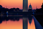 Sunrise over the US Capitol and Washington Monument