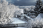 Wintry scene across fields in rural Suffolk, England