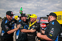 Sep 29, 2019; Madison, IL, USA; NHRA funny car driver Shawn Langdon celebrates with crew after winning the Midwest Nationals at World Wide Technology Raceway. Mandatory Credit: Mark J. Rebilas-USA TODAY Sports