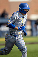 San Jose State Spartans outfielder Connor Konishi (25) runs to first base against the Michigan Wolverines on March 27, 2019 in Game 1 of the NCAA baseball doubleheader at Ray Fisher Stadium in Ann Arbor, Michigan. Michigan defeated San Jose State 1-0. (Andrew Woolley/Four Seam Images)