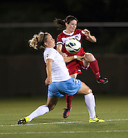Diana Matheson (8) of the Washington Spirit collides with Ella Masar (3) of the Chicago Red Stars during the game at the Maryland SoccerPlex in Boyds, Md.   Chicago defeated Washington, 2-0.