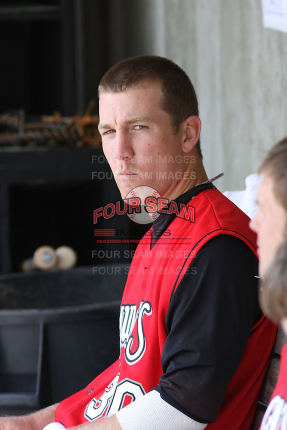 Todd Frazier of the Carolina Mudcats in the dugout against  the Huntsville Stars on April 22, 2009 at Five County Stadium in Zebulon, NC.