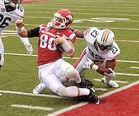 NWA Democrat-Gazette/MICHAEL WOODS • @NWAMICHAELW<br /> University of Arkansas receiver Drew Morgan gets tackled short of the goal line by Auburn defender Jonathan Ford during the first overtime period of the Arkansas Razorbacks 54-46 win over Auburn during Saturdays game at Razorback Stadium in Fayetteville.