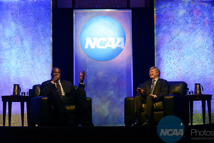 Keynote Luncheon during the 2013 NCAA Convention at the the Gaylord Texan Hotel in Grapevine, TX, Wednesday, January 16, 2013. (Peter Lockley/NCAA Photos).Pictured: Shaquille O'Neal and Mark Emmert (right)