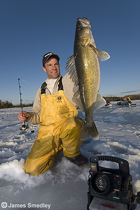 Ice fishing winter walleye