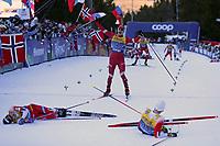 5th January 2020; Val Di Fiemme Ski Resort, Val Di Fiemme, Trento, Italy; International Ski Federation Audi FIS Mens Cross Country Ski World Cup, Tour De Ski Val Di Fiemme; Simen Krueger (NOR), Sjur Roethe (NOR), Alexander Bolshunov (RUS)