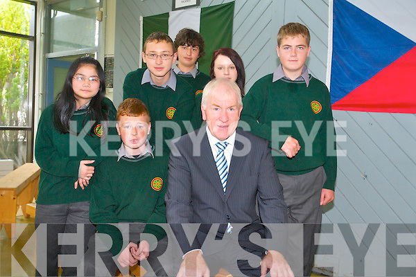 Students Graham Costello, Xiu Mei Li, Arek Swigon, Dominika Danilewicz, Vladimir Zavadsky and James Lyne from Tralee Community College with Jimmy Deenihan Minister for  Arts, Heritage and the Gaeltacht and Chair of the National Famine Committee held a minutes silence to reflect on the victims of the great Irish famine and the famine in Somalia on Friday.