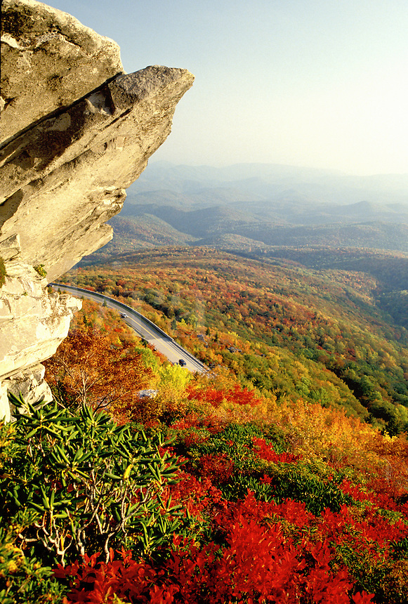 Blue Ridge Parkway, North Carolina, NC, View of Rough Ridge and the Blue Ridge Pkwy. from Grandfather Mountain in the fall.