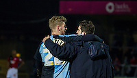 Jason McCarthy of Wycombe Wanderers & Max Kretzschmar of Wycombe Wanderers on the final whistle during the Sky Bet League 2 match between Wycombe Wanderers and Crawley Town at Adams Park, High Wycombe, England on 28 December 2015. Photo by Kevin Prescod / PRiME Media Images