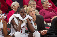 Chiney Ogwumike and assist ate coach Kate Paye, during Saturday, November 25, 2012 game at Stanford against Long Beach State.. Stanford won 77-41.
