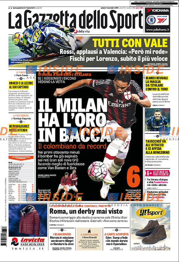 Gazzetta Dello Sport Prima Pagina Front Page <br /> Carlos Bacca Milan <br /> Foto Andrea Staccioli Insidefoto