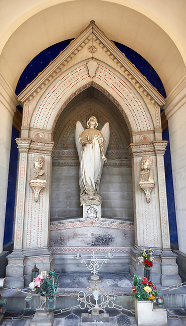 Picture and image of the stone sculptured Art Nouveau monumental tomb of the Masoleni family. The Staglieno Monumental Cemetery, Genoa, Italy