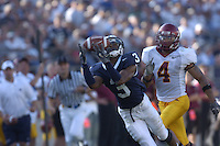 01 October 2005:  Penn State WR Deon Butler (3) pulls in a long pass in front of Minnesota CB Trumaine Banks (4)..Penn State Nittany Lions  defeated the Minnesota Golden Gophers  44-14 September 1, 2005 at Beaver Stadium in State College, PA..