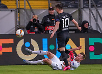 Silvan Widmer (FC Basel) trennt Filip Kostic (Eintracht Frankfurt) vom Ball - 12.03.2020: Eintracht Frankfurt vs. FC Basel, UEFA Europa League, Achtelfinale, Commerzbank Arena<br /> DISCLAIMER: DFL regulations prohibit any use of photographs as image sequences and/or quasi-video.