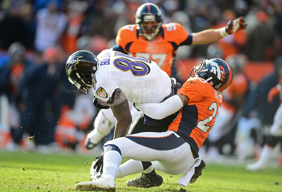 Jan 12, 2013; Denver, CO, USA; Baltimore Ravens wide receiver Anquan Boldin (81) against the Denver Broncos during the AFC divisional round playoff game at Sports Authority Field.  Mandatory Credit: Mark J. Rebilas-