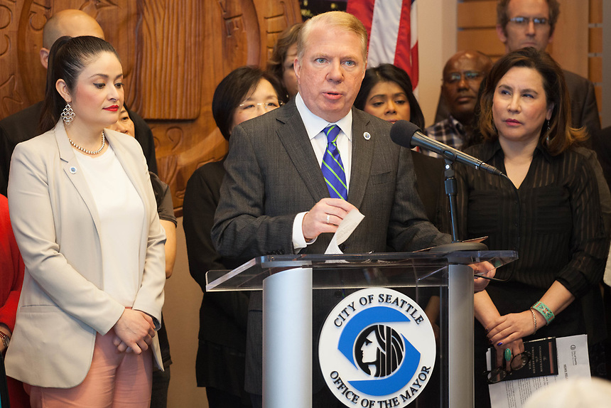 Seattle Mayor Ed Murray announces a lawsuit against the Trump administration over sanctuary cities at Seattle City Hall on Wednesday, March 29, 2017.