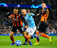 Manchester City's David Silva takes on Shakhtar Donetsk's Maycon and Viktor Kovalenko<br /> <br /> Photographer Alex Dodd/CameraSport<br /> <br /> UEFA Champions League Group F - Manchester City v Shakhtar Donetsk - Wednesday 7th November 2018 - City of Manchester Stadium - Manchester<br />  <br /> World Copyright &copy; 2018 CameraSport. All rights reserved. 43 Linden Ave. Countesthorpe. Leicester. England. LE8 5PG - Tel: +44 (0) 116 277 4147 - admin@camerasport.com - www.camerasport.com