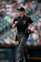 Umpire Blake Carnahan during an International League game between the Pawtucket Red Sox and Buffalo Bisons on August 25, 2019 at Sahlen Field in Buffalo, New York.  Buffalo defeated Pawtucket 5-4 in 11 innings.  (Mike Janes/Four Seam Images)