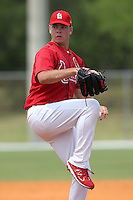 St. Louis Cardinals minor league pitcher Nick Additon delivers a pitch during a spring training game vs the Florida Marlins at the Roger Dean Sports Complex in Jupiter, Florida;  March 25, 2011.  Photo By Mike Janes/Four Seam Images