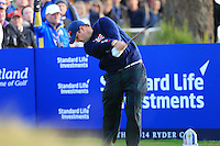 Patrick Reed (USA) on the 2nd tee during the Saturday Fourball Matches of the Ryder Cup at Gleneagles Golf Club on Saturday 27th September 2014.<br /> Picture:  Thos Caffrey / www.golffile.ie
