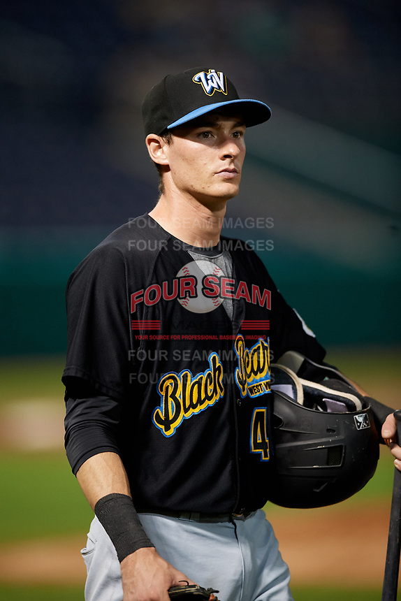 West Virginia Black Bears shortstop Zack Kone (44) after a game against the State College Spikes on August 30, 2018 at Medlar Field at Lubrano Park in State College, Pennsylvania.  West Virginia defeated State College 5-3.  (Mike Janes/Four Seam Images)