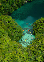 A favorite Kayaking spot, Aerial of the Rock islands, Mandarin Fish lake Palau Micronesia